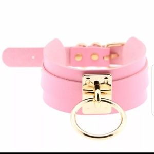 NWOT hand crafted leather fetish choker pink